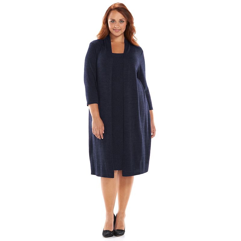Plus Size Connected Apparel Mock-Sweaterdress