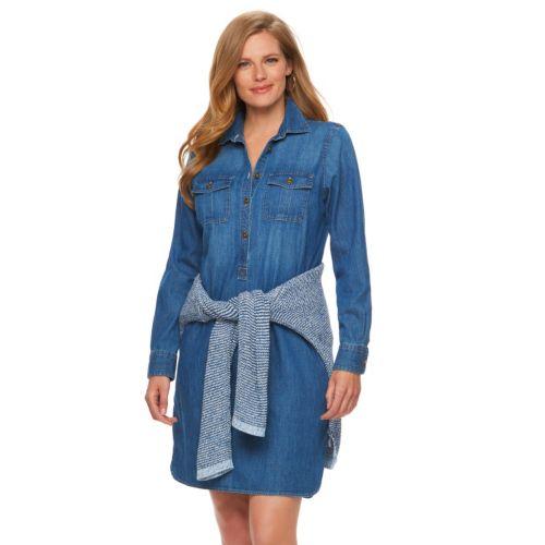 Plus Size Chaps Chambray Shirtdress