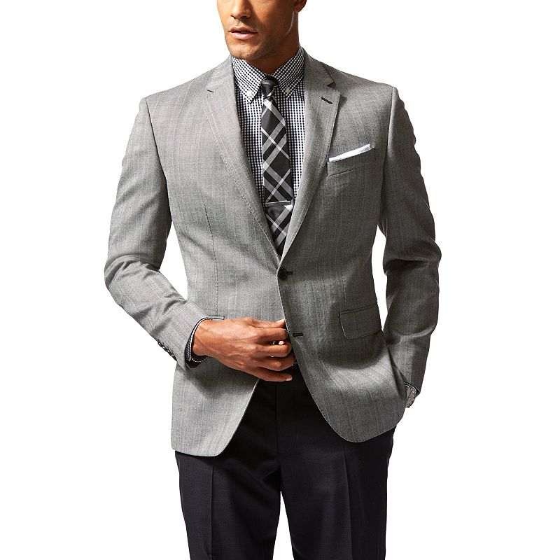 Men's Dockers Battery Street Slim-Fit Gray Herringbone Wool-Blend Sport Coat