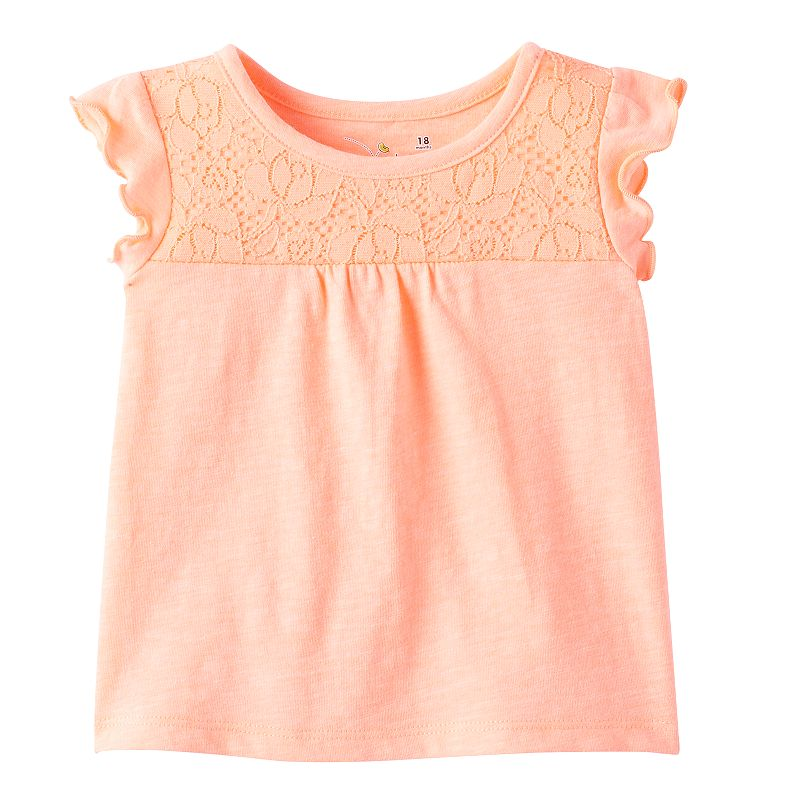 Baby Girl Jumping Beans® Lace-Yoke Tee