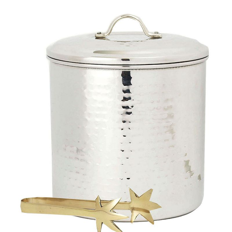 Old Dutch Hammered Stainless Steel 3-qt. Ice Bucket & Tongs
