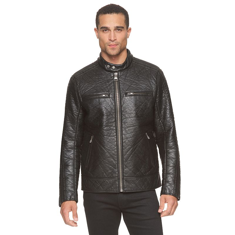 Men's Andrew Marc Modern-Fit Faux-Leather Moto Jacket