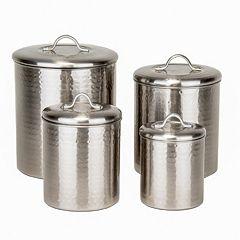 Old Dutch 4-pc. Hammered Brushed Nickel Kitchen Canister Set