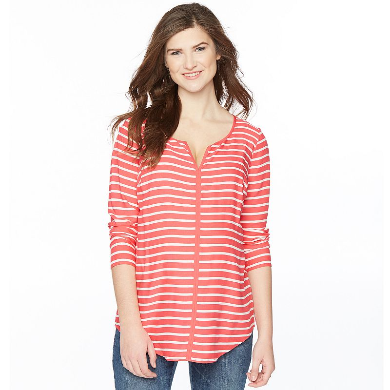 Maternity Oh Baby by Motherhood™ Striped Splitneck Top