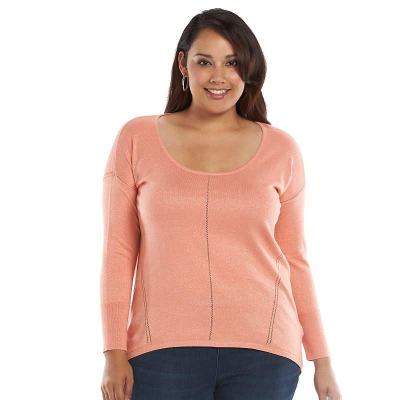 Plus Size Jennifer Lopez Lurex Scoopneck Sweater