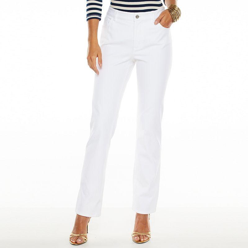 Chaps Twill Straight-Leg Pants - Women's