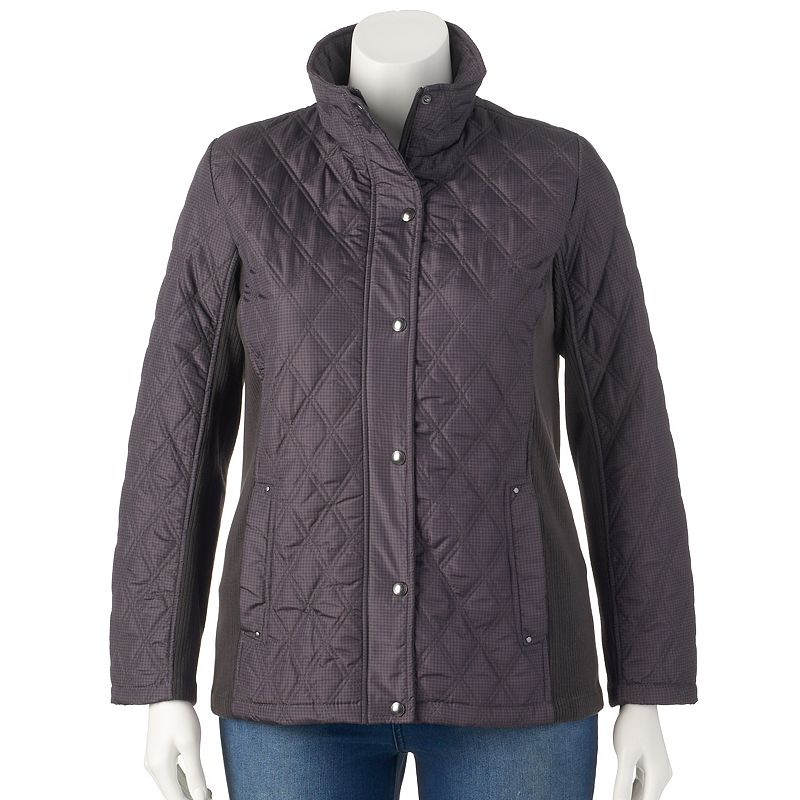 Plus Size Weathercast Herringbone Quilted Jacket