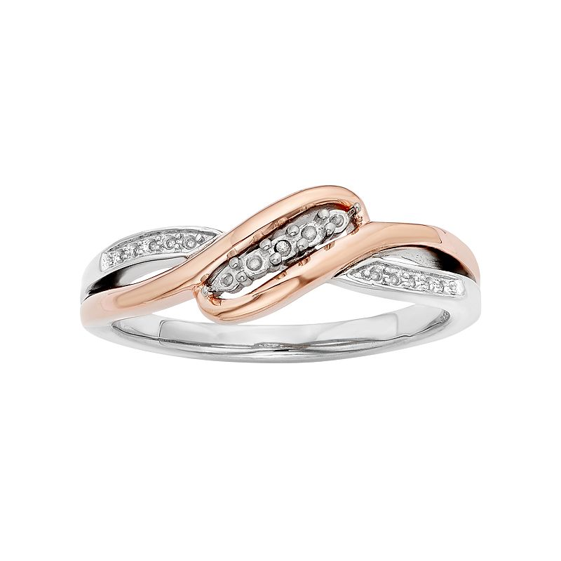 1/8 Carat T.W. Diamond 10k Rose Gold & Sterling Silver Swirl Ring