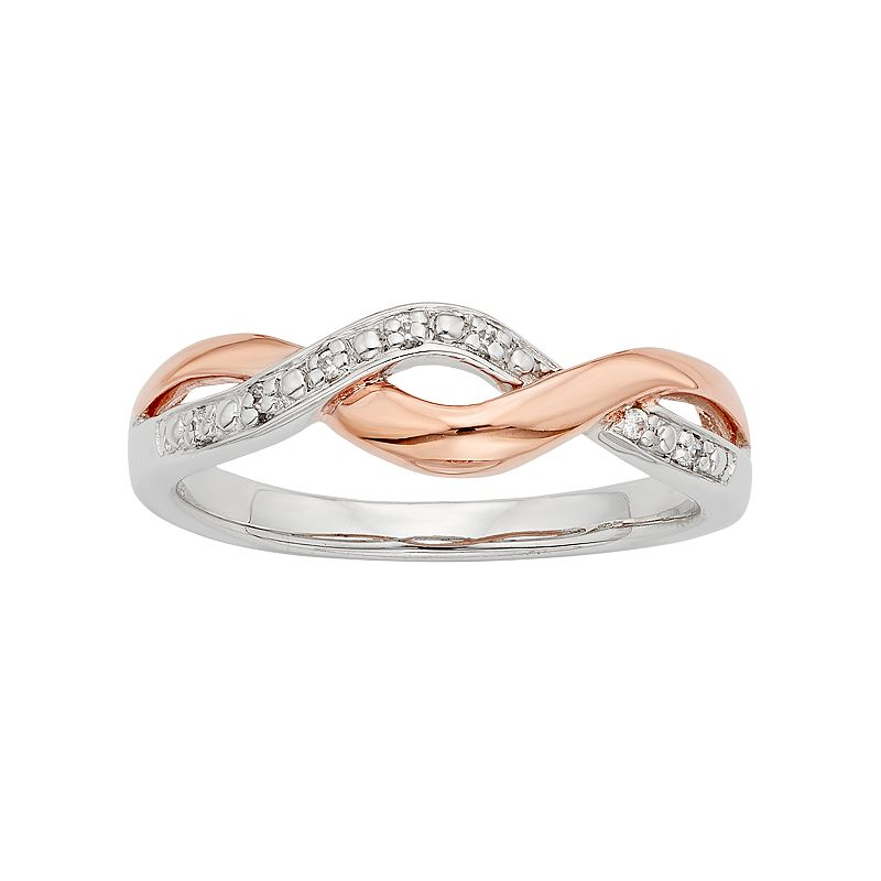 Diamond Accent 10k Rose Gold & Sterling Silver Twist Ring