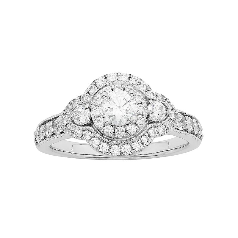 Diamonore Simulated Diamond Halo Engagement Ring in Sterling Silver (1 Carat T.W.)