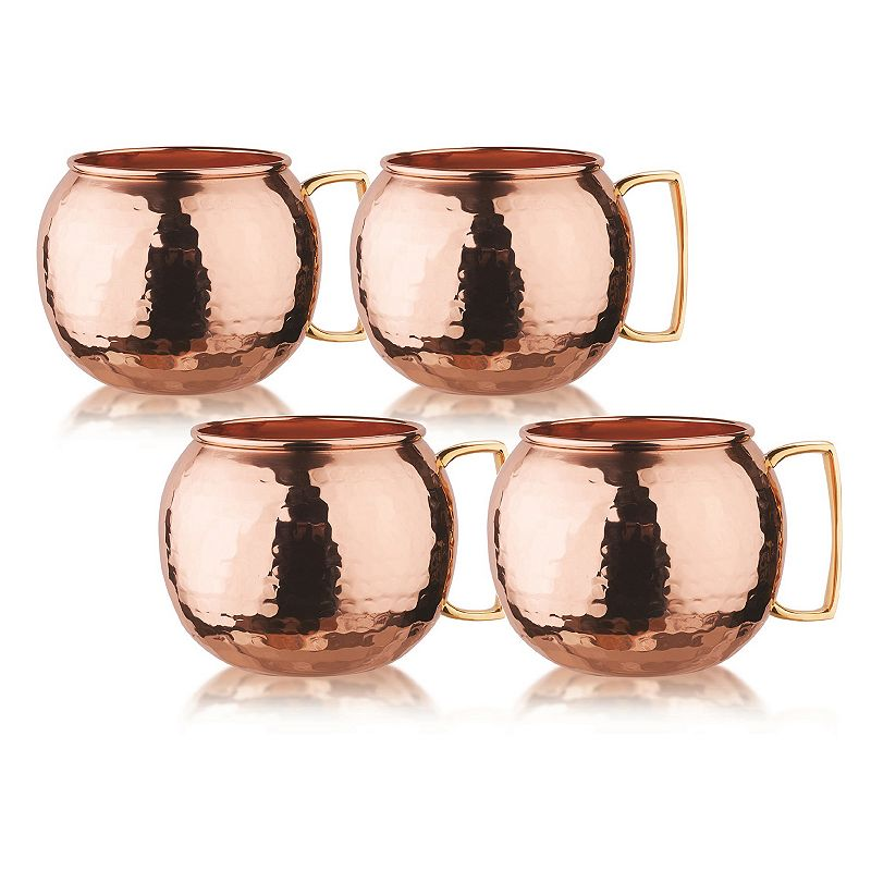 Old Dutch Globe 4-pc. Hammered Copper Moscow Mule Set