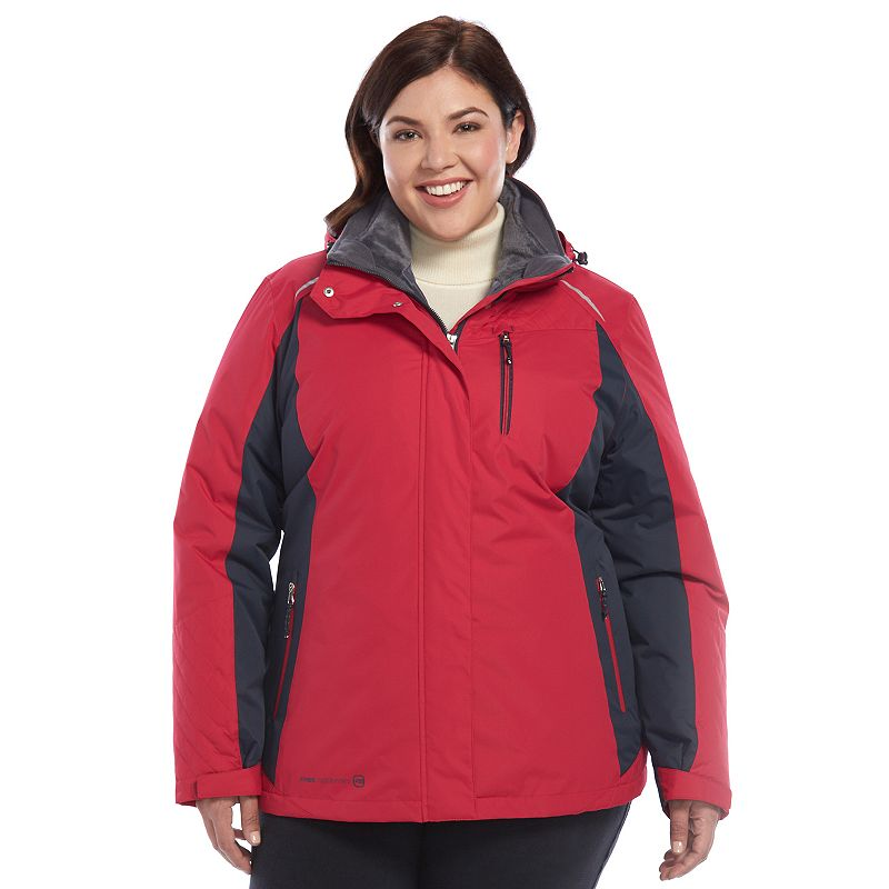Plus Size Free Country Radiance Colorblock Hooded 3-in-1 Systems Jacket