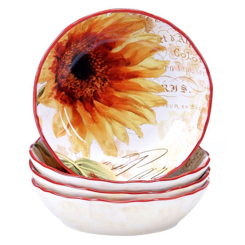 Certified International Paris Sunflower 4-pc. Soup / Cereal Bowl Set