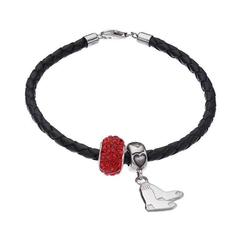 LogoArtBoston Red Sox Crystal Sterling Silver & Leather Charm Bracelet