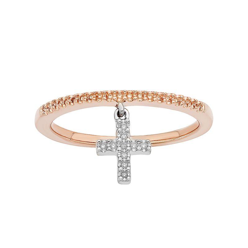 1/8 Carat T.W. Diamond Two Tone 10k Gold Cross Charm Ring