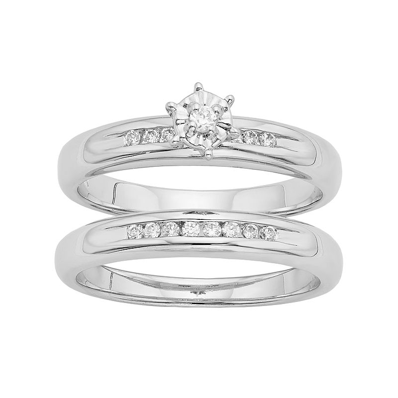 Diamond Engagement Ring Set in Sterling Silver (1/4 Carat T.W.)