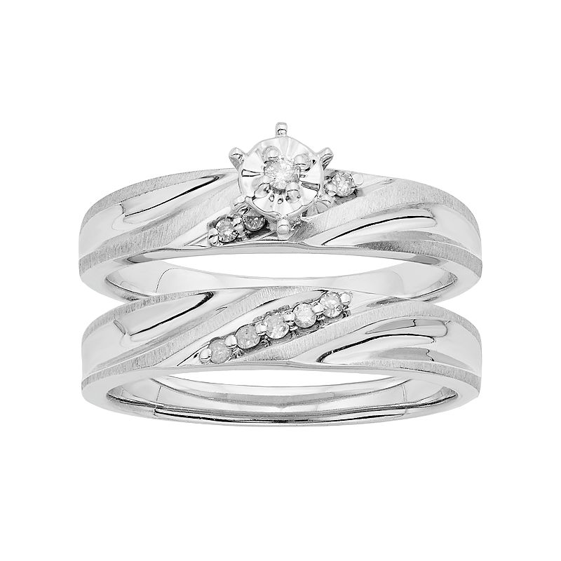 Diamond Engagement Ring Set in Sterling Silver (1/10 Carat T.W.)
