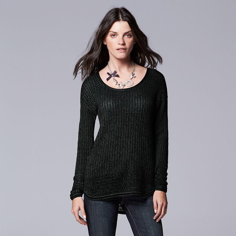 Women's Simply Vera Vera Wang High-Low Scoopneck Sweater