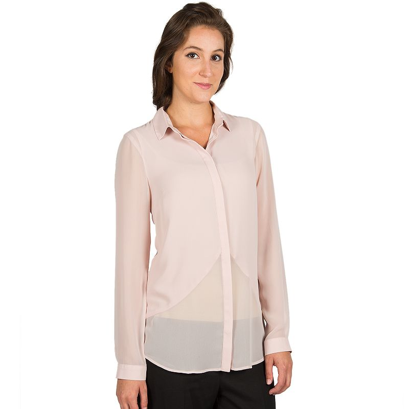 Harve Benard High-Low Button-Front Blouse - Women's