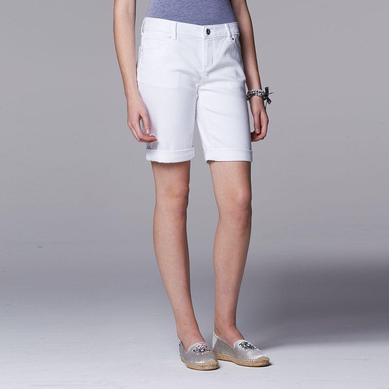 Women's Simply Vera Vera Wang Cuffed Bermuda Jean Shorts