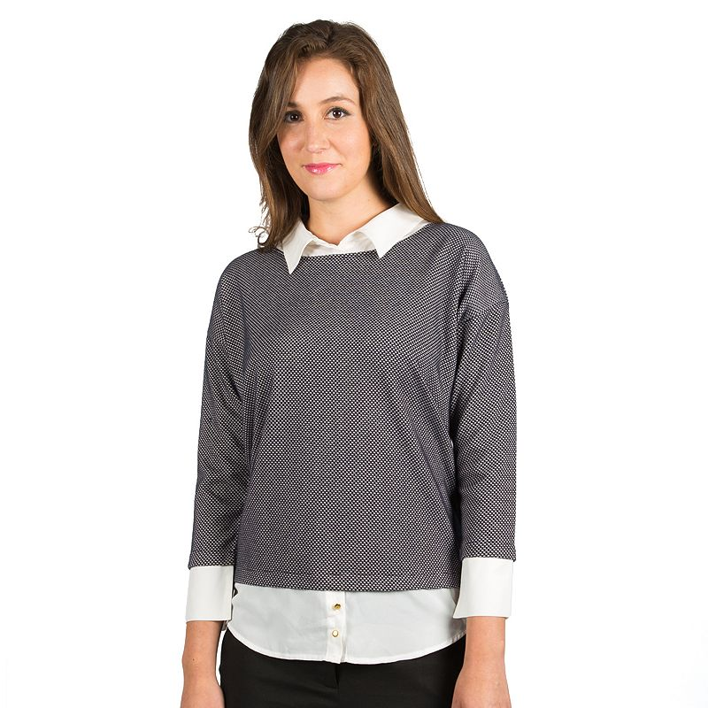 Harve Benard Jacquard Mock-Layer Crewneck Sweater - Women's