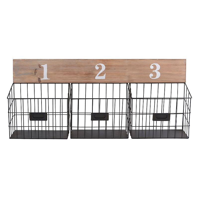 Numbered Wire Baskets Wall Decor