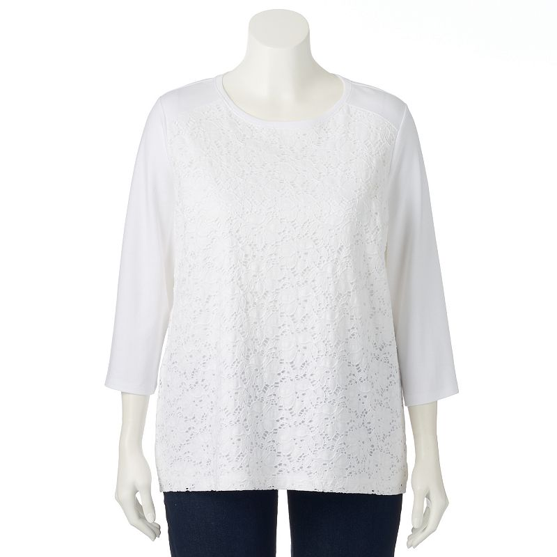 Plus Size Croft & Barrow® Floral Eyelet Top