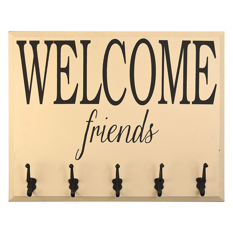 Distressed ''Welcome Friends'' 5-Hook Wall Decor