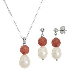 Freshwater by HONORA Sterling Silver Freshwater Cultured Pearl & Muscovite Jewelry Set