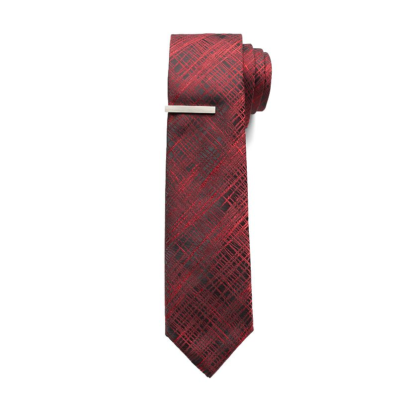 Apt. 9® Electro Brushed Skinny Tie & Tie Bar - Men