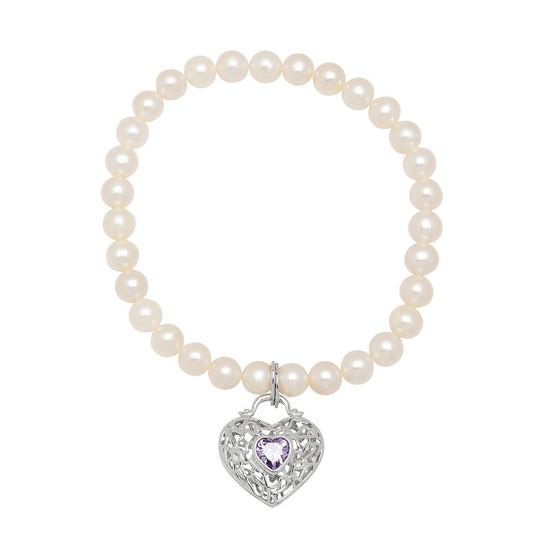 Freshwater by HONORA Freshwater Cultured Pearl Stretch Bracelet with Heart Charm