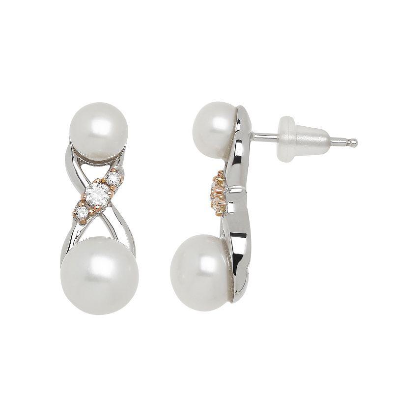 Freshwater by HONORA Freshwater Cultured Pearl & Cubic Zirconia Infinity Drop Earrings