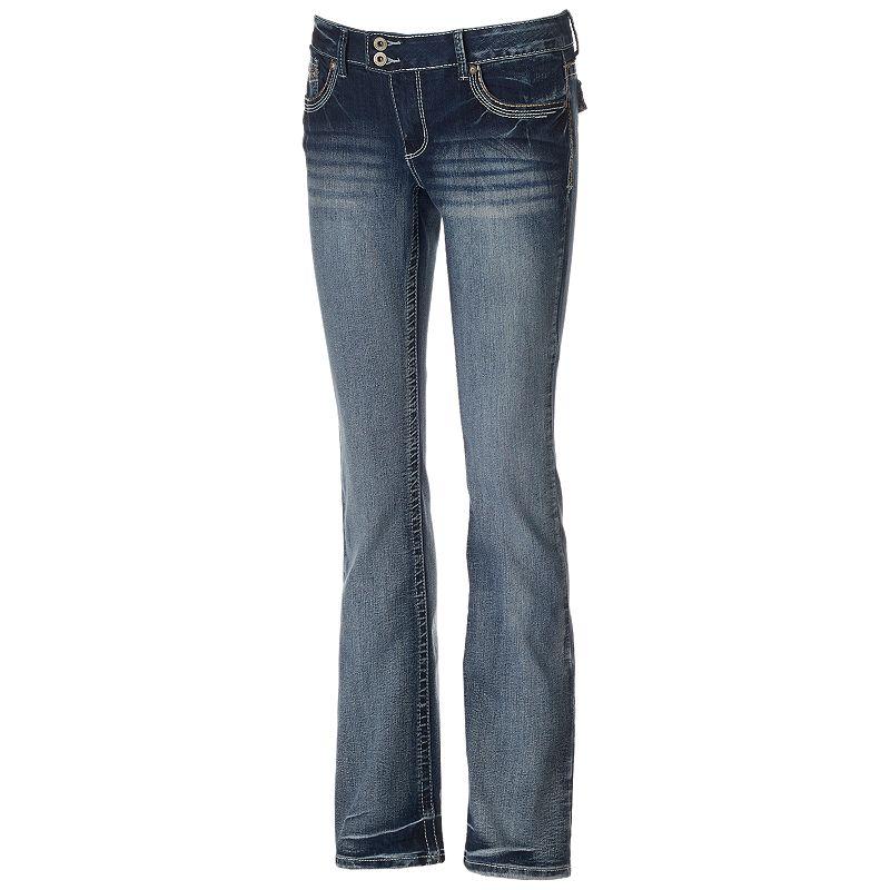 Juniors' Amethyst 2-Button Trumpet Jeans