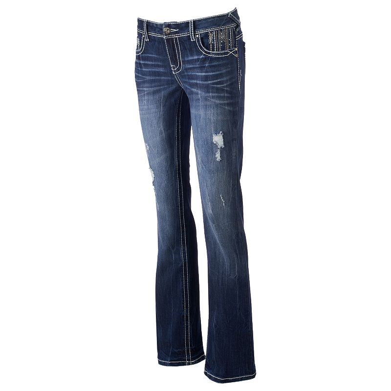 Juniors' Amethyst Ripped Bootcut Jeans