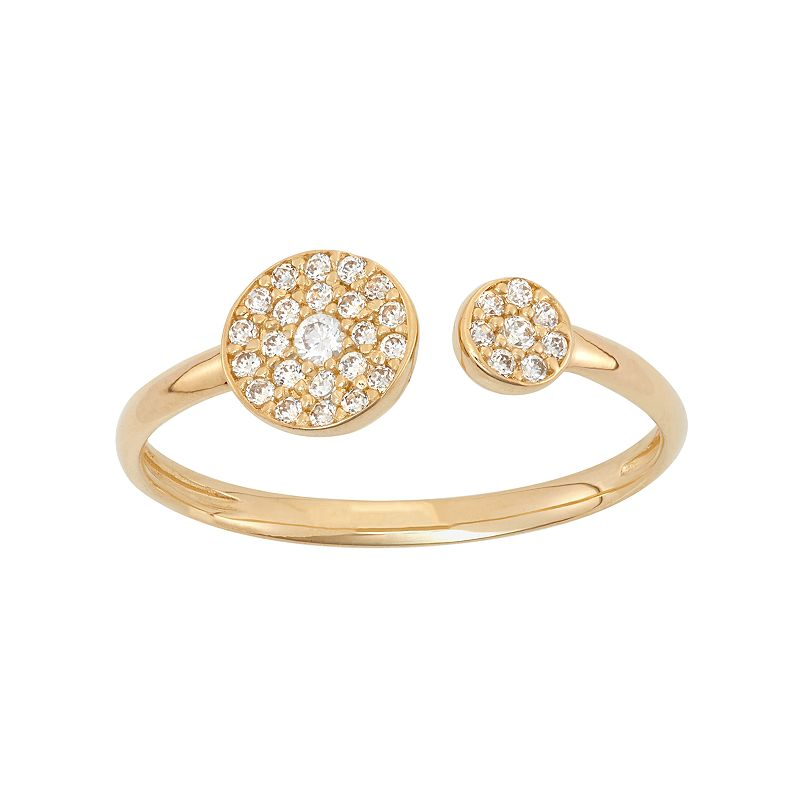 Cubic Zirconia 10k Gold Double Circle Ring