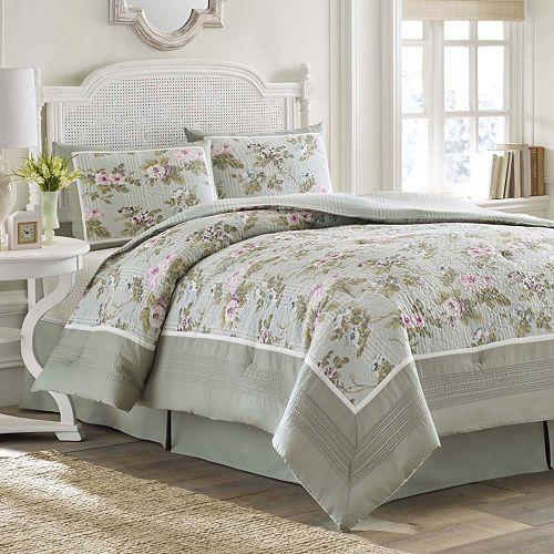 Laura Ashley Lifestyles Avery Comforter Set Queen Green Ebay