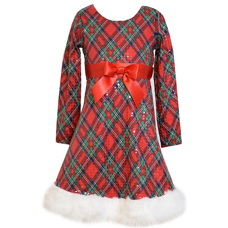 Bonnie Jean Girls' Plaid Fit & Flare Santa Dress