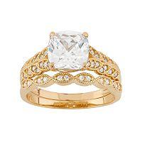 Cubic Zirconia Scalloped 10k Gold Engagement Ring Set