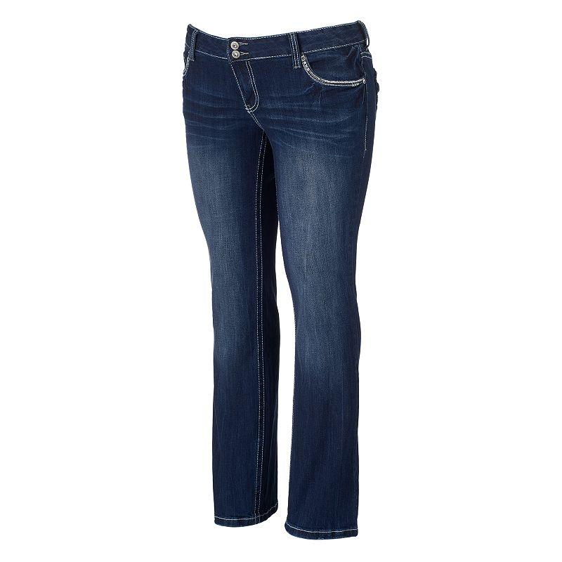 Juniors' Plus Size Amethyst Backstitched Slim Bootcut Jeans