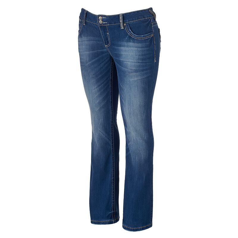 Juniors' Plus Size Amethyst Backstitched 2-Button Bootcut Jeans