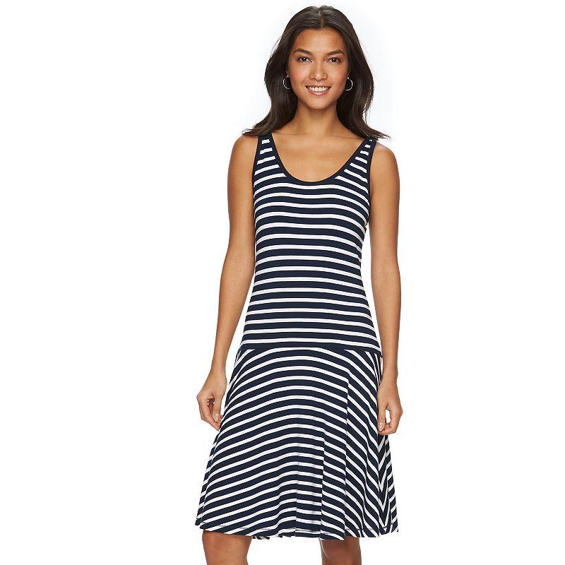 Women's Chaps Striped Drop-Waist Dress