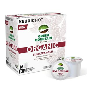 Keurig® K-Cup® Pod Organic Green Mountain Coffee Organic Sumatra Aceh Dark Roast Coffee - 16-pk.