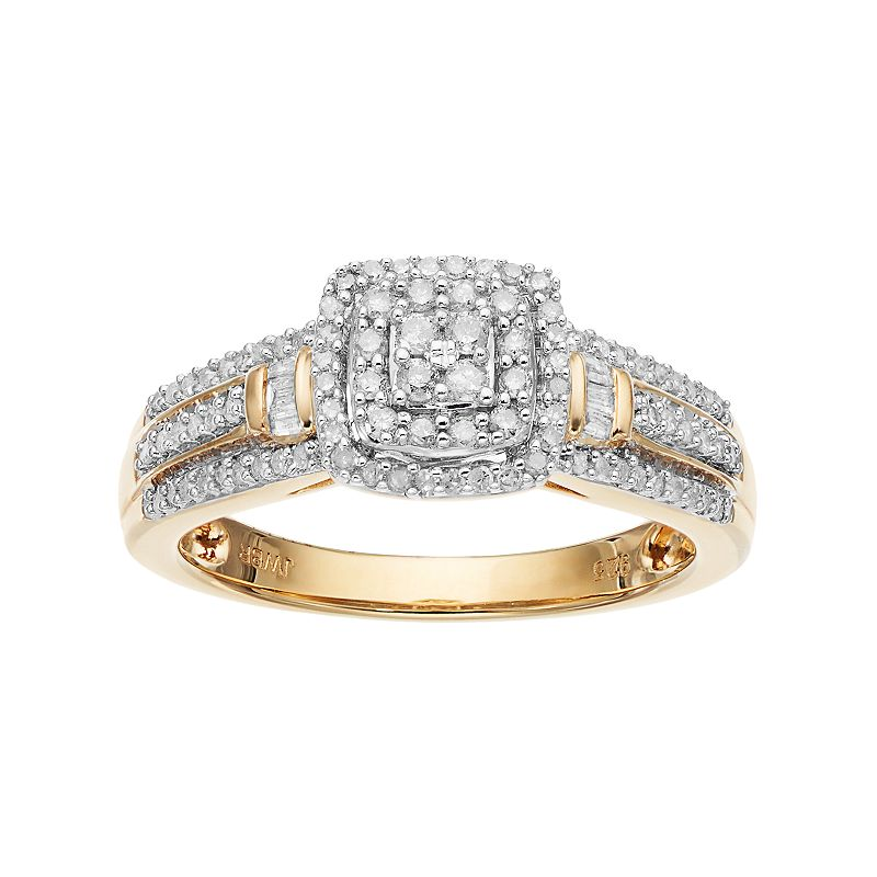 Always Yours18k Gold Over Silver 1/3 Carat T.W. Diamond Square Halo Engagement Ring