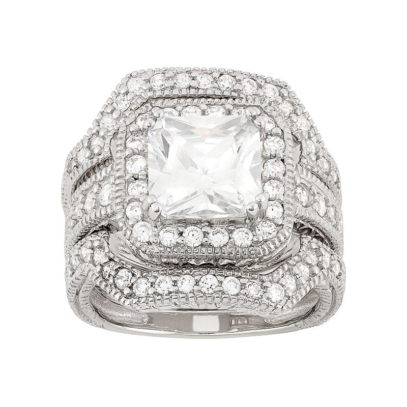Cubic Zirconia Halo Engagement Ring Set in Sterling Silver