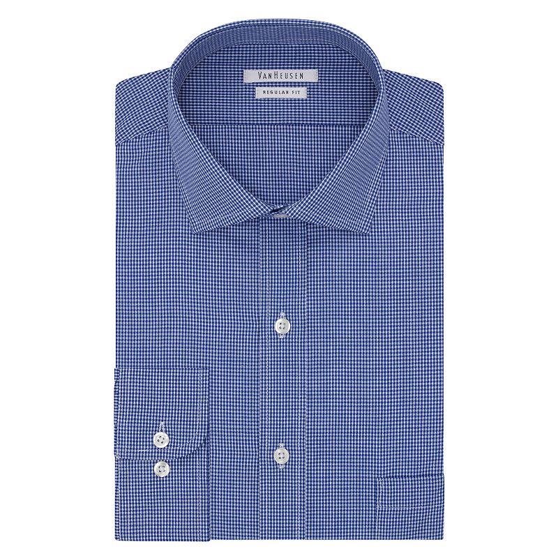 Men 39 s van heusen regular fit checked wrinkle free dress for Van heusen men s regular fit pincord dress shirt
