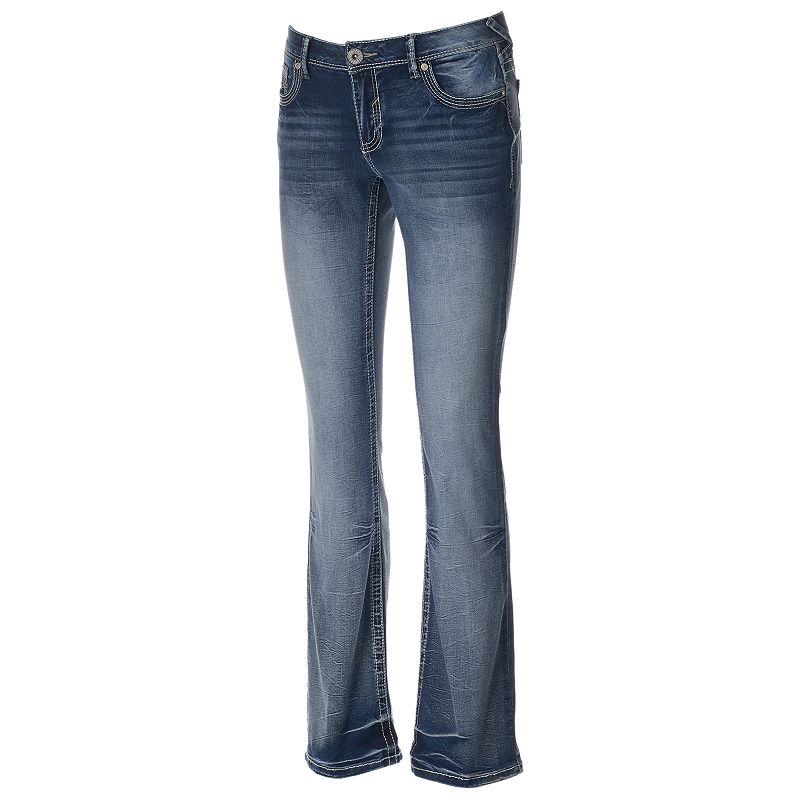 Juniors' Amethyst Faded Embellished Bootcut Jeans