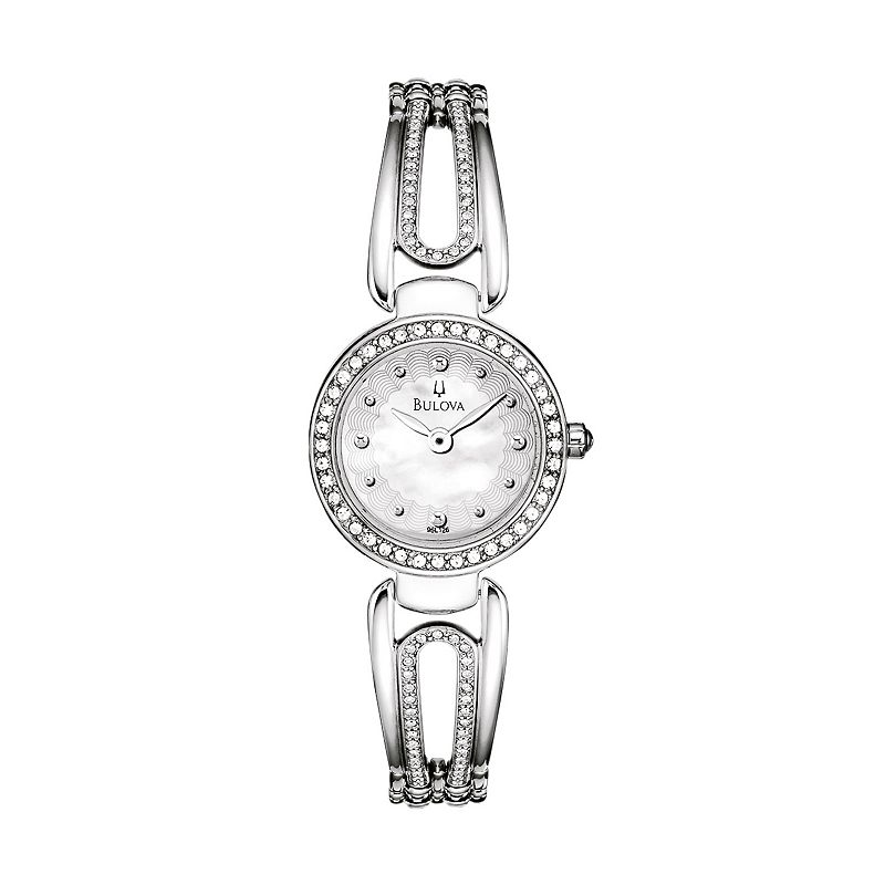 Bulova Women's Crystal Stainless Steel Bangle Watch - 96L126