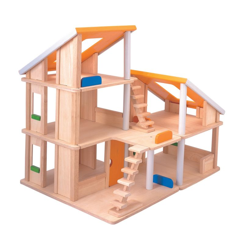 Plan Toys Wood Chalet Dollhouse, Multicolor