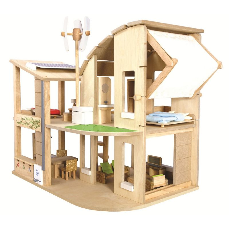 Plan Toys Green Dollhouse & Furniture Set, Multicolor