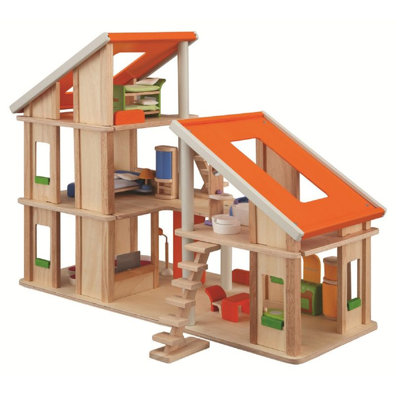 Plan Toys Chalet Dollhouse with Furniture, Multicolor
